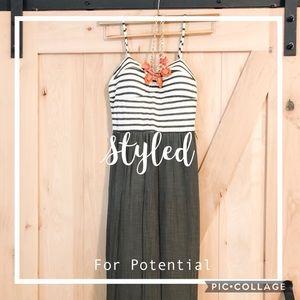 As U Wish army green stripe slit dress